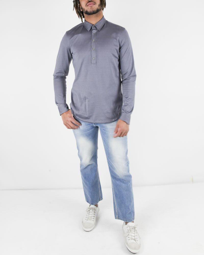 Polo à manches longues en coton satiné gris Hosio