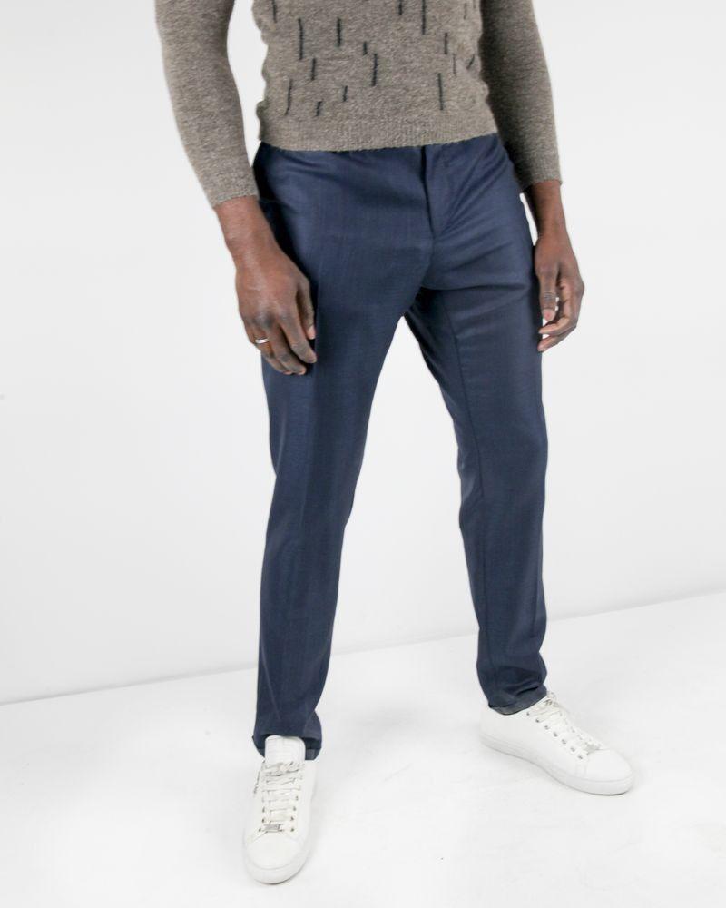 Pantalon bleu tailleur nid d'abeilles en laine et soie Lords & Fools