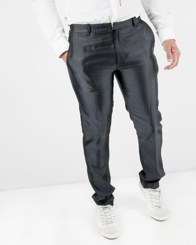 Pantalon tailleur en crêpe côtelé bleu John Galliano