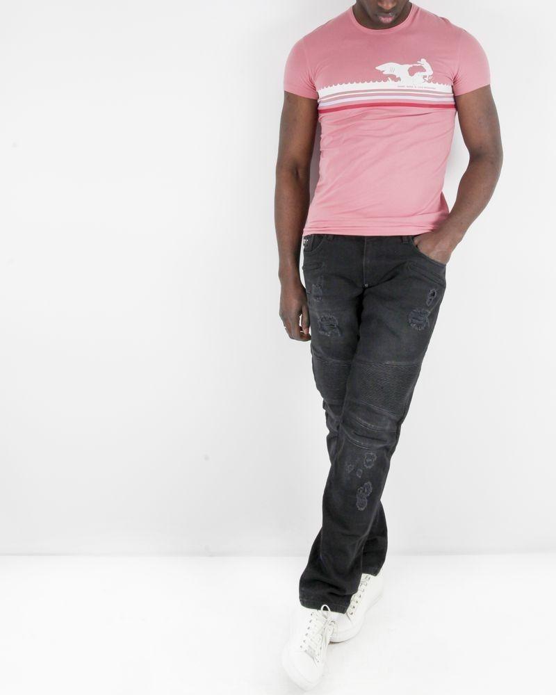 T-Shirt en coton rose à flocage fantaisie Moschino