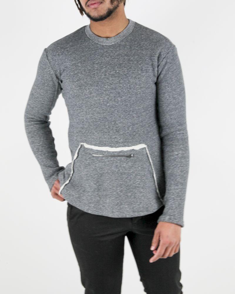 Sweat en coton gris chiné à poche fourrée XL Damir Doma