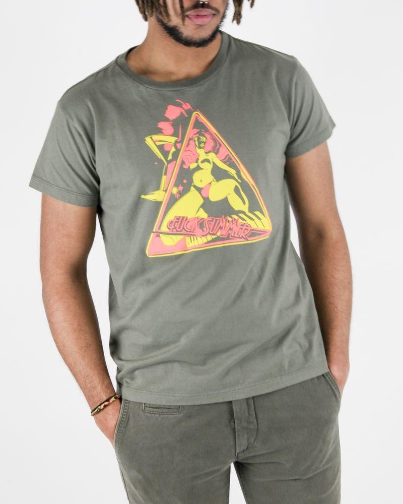 T-Shirt en coton kaki à flocage fantaisie fluo Diesel