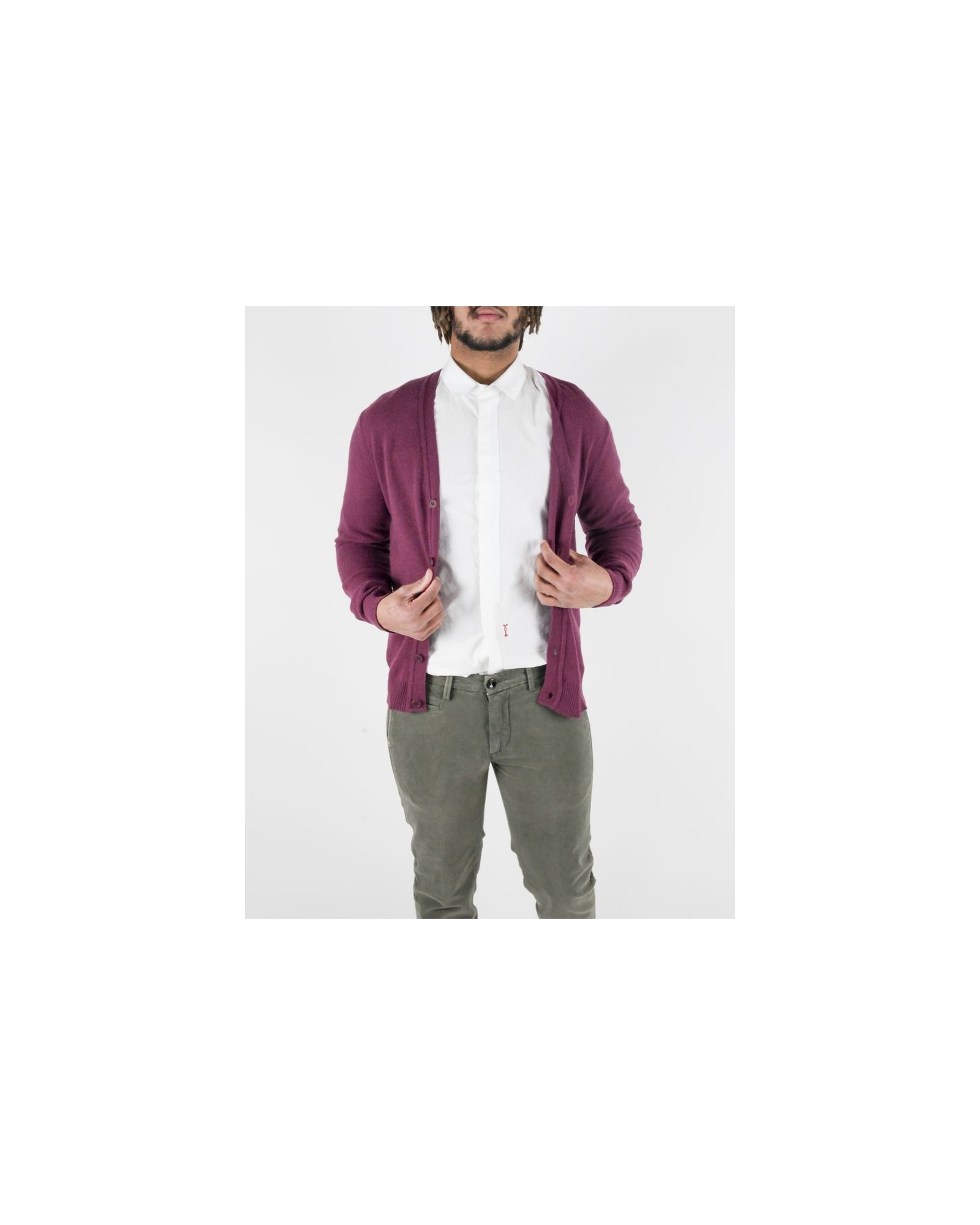 Cardigan violet à coudières contrastantes Woolgroup