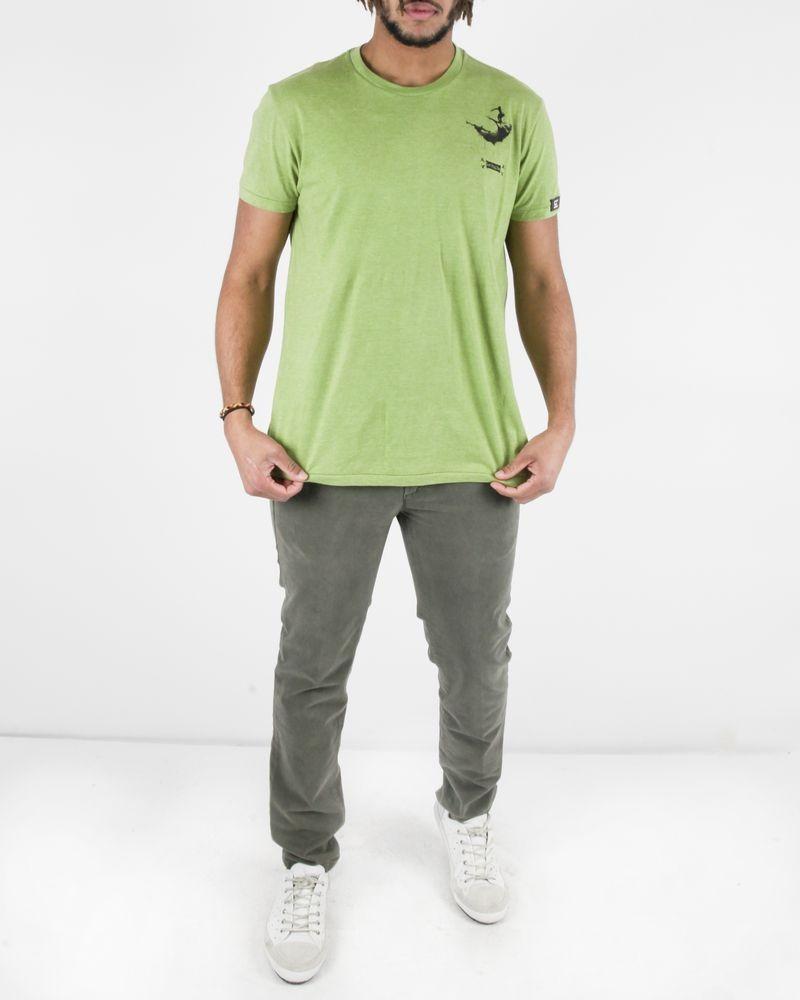 T-Shirt en coton vert à motifs abstraits noirs Gian Franco Ferre