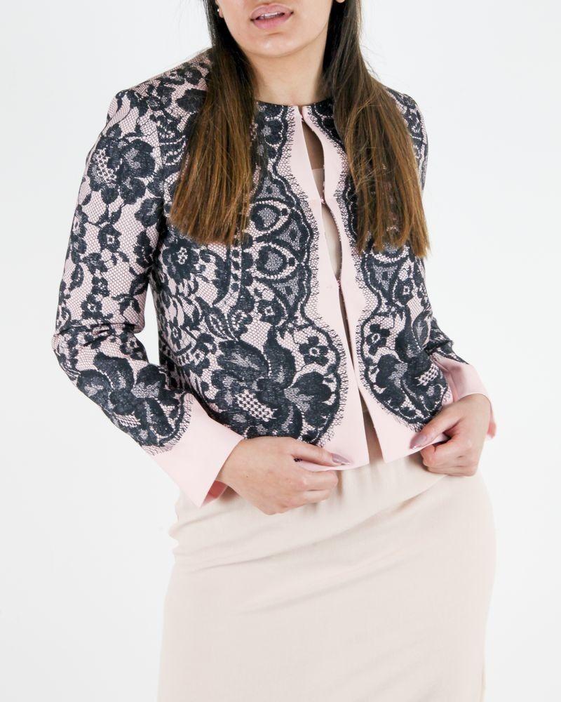 Veste rose à imprimé dentelle noire Moschino