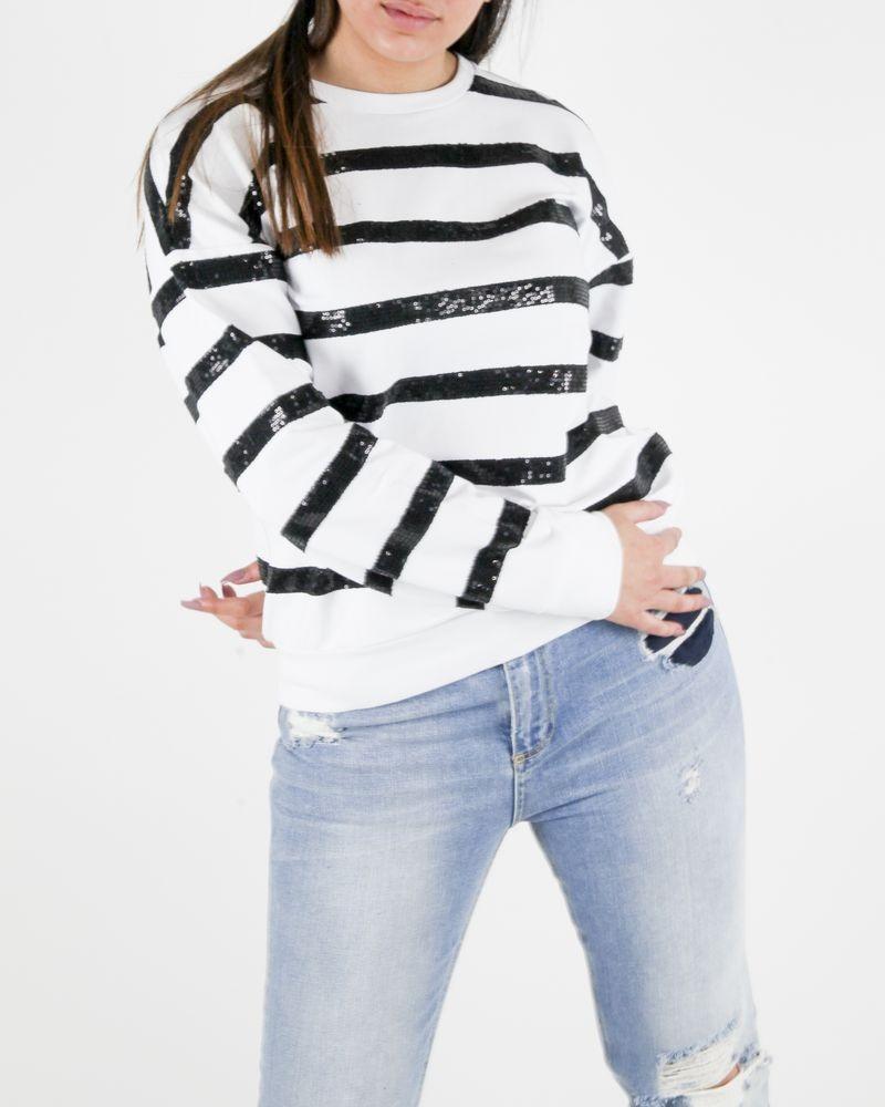 Sweat en coton blanc à rayures de sequins noirs Frankie Morello