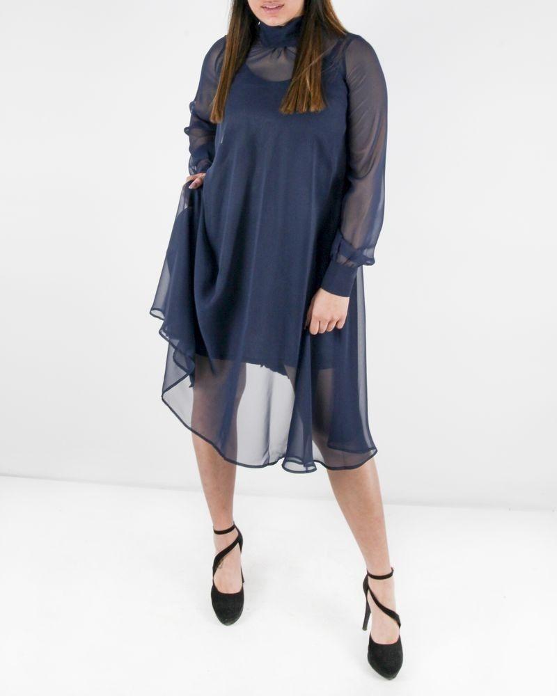 Robe bi matière bleu Liis Japan