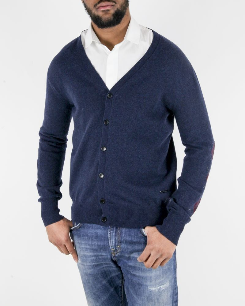 Gilet en laine bleu à losanges fantaisies John Galliano