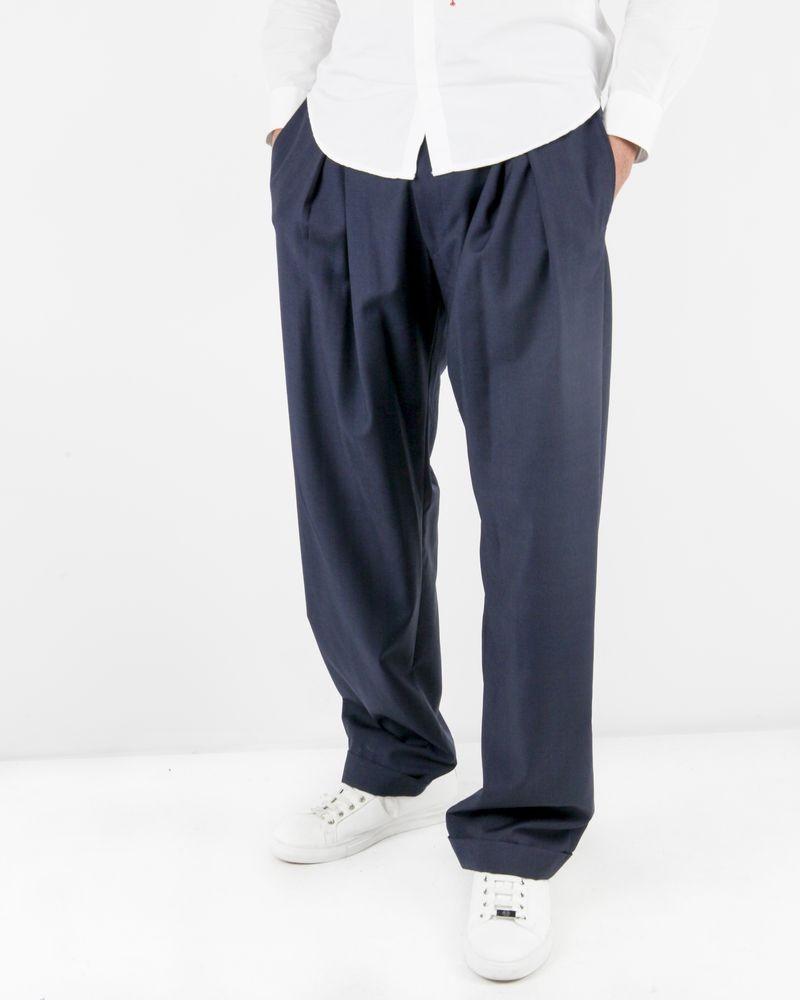 Pantalon bleu tailleur en laine Lords & Fools