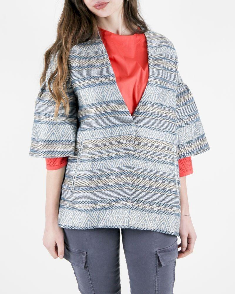 Manteau léger en coton bleu à motif ethnique Purotatto