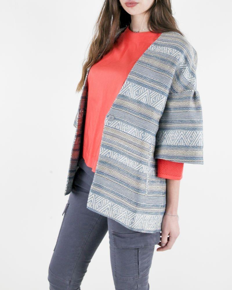 Manteau léger en coton bleu à motif ethnique Purrotatto