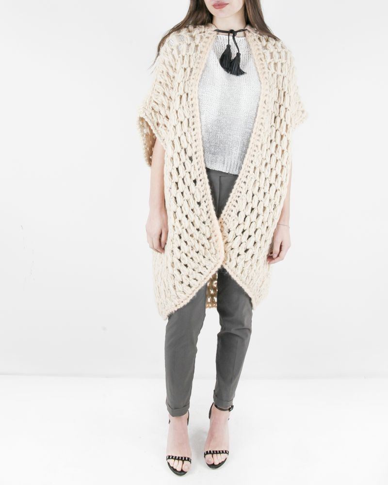 Gilet cape en laine beige à pompons Forte Forte
