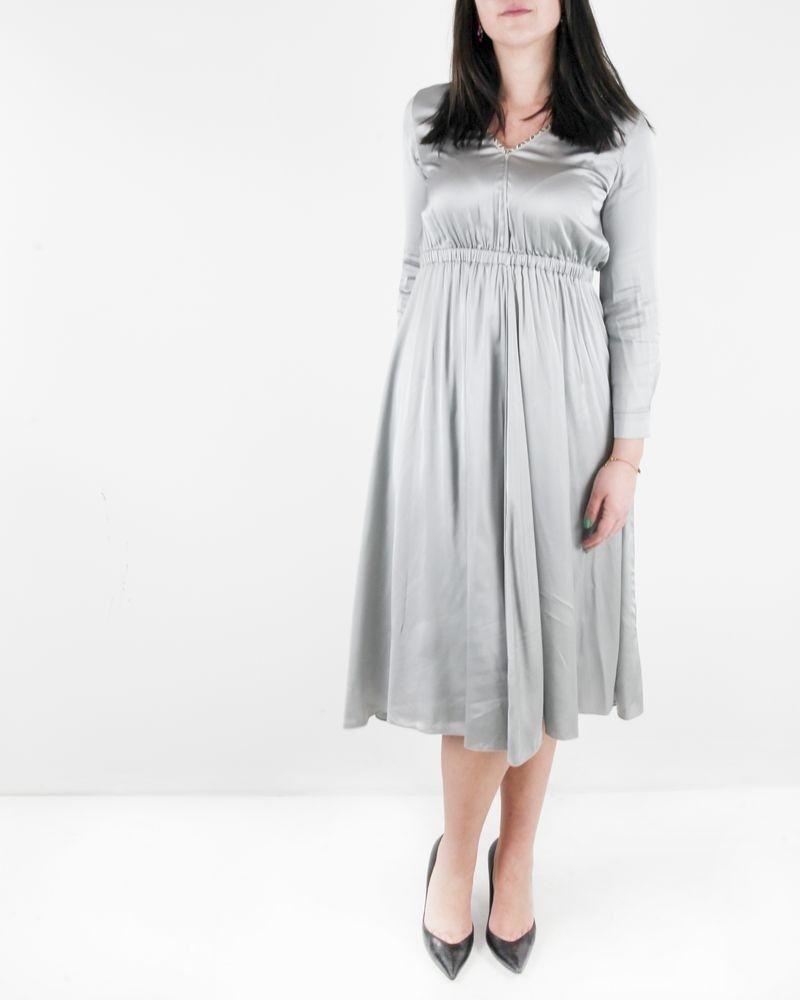 Robe empire en satin gris à biais ethnique Forte Forte