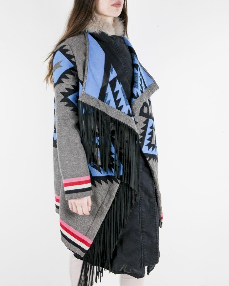 Manteau en laine gris à cape ethnique Bazar Deluxe