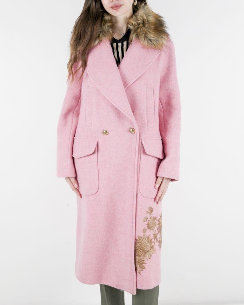 Manteau en laine rose chiné brodé Bazar Deluxe