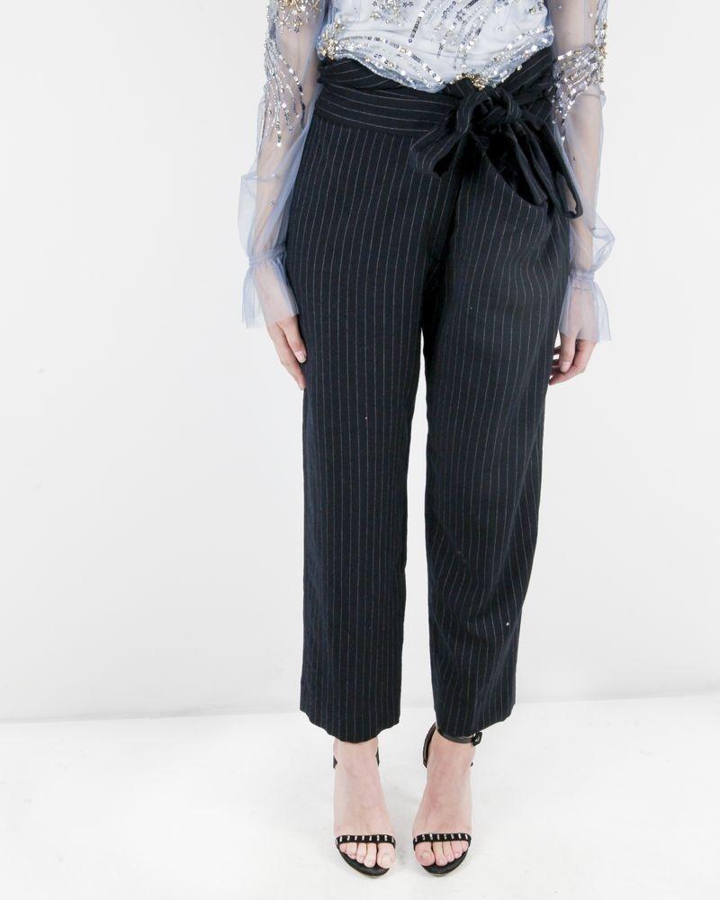 Pantalon taille haute en laine bleu rayé Forte Forte