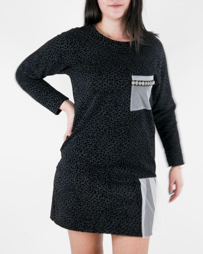 Robe à motifs velours noirs et tulle blanche Jijil