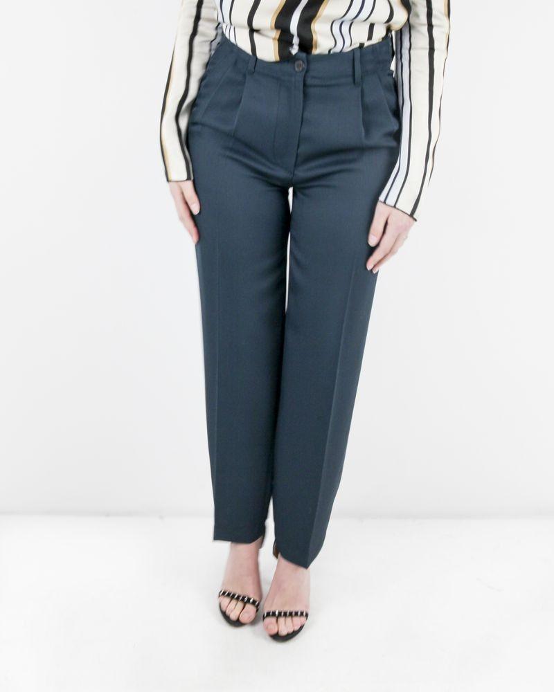 Pantalon à pinces en laine bleu Forte Forte