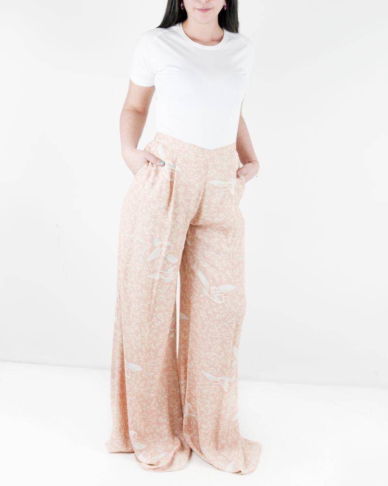 Pantalon palazzo en crêpe rose à imprimé fantaisie Elisabetta Franchi