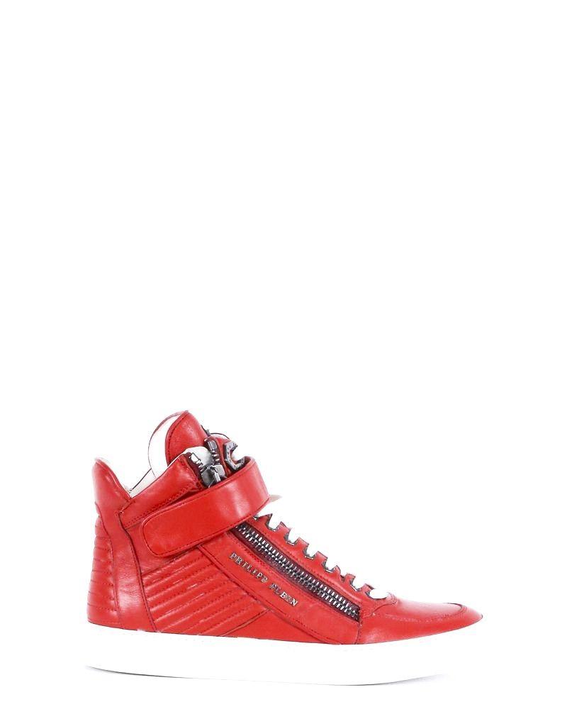 Basket en cuir rouge matelassé montante Philipp Plein