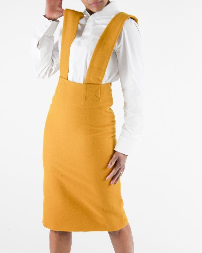 Jupe salopette en laine jaune moutarde Each Other