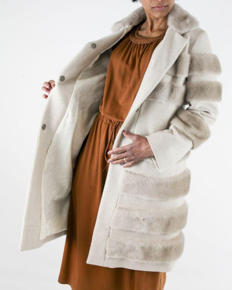 Manteau en cachemire et fourrure beige Fontani