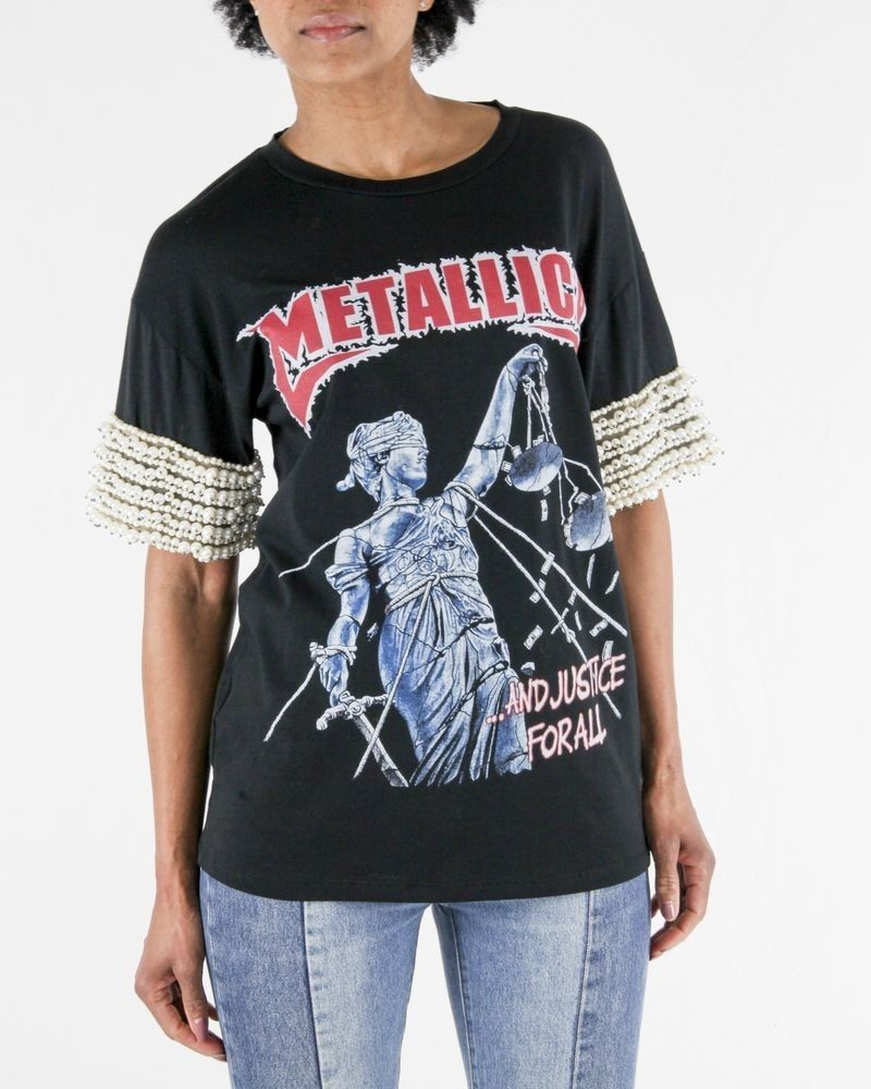T-Shirt noir à flocage rock et perles L'Edition