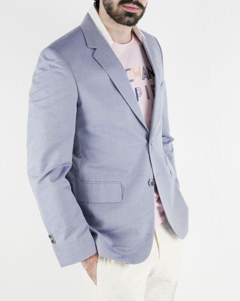 Veste en coton bleu chiné à double col Marchand Drapier