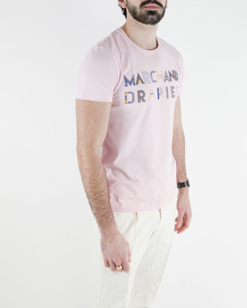 T-Shirt en coton rose à logo fantaisie Marchand Drapier