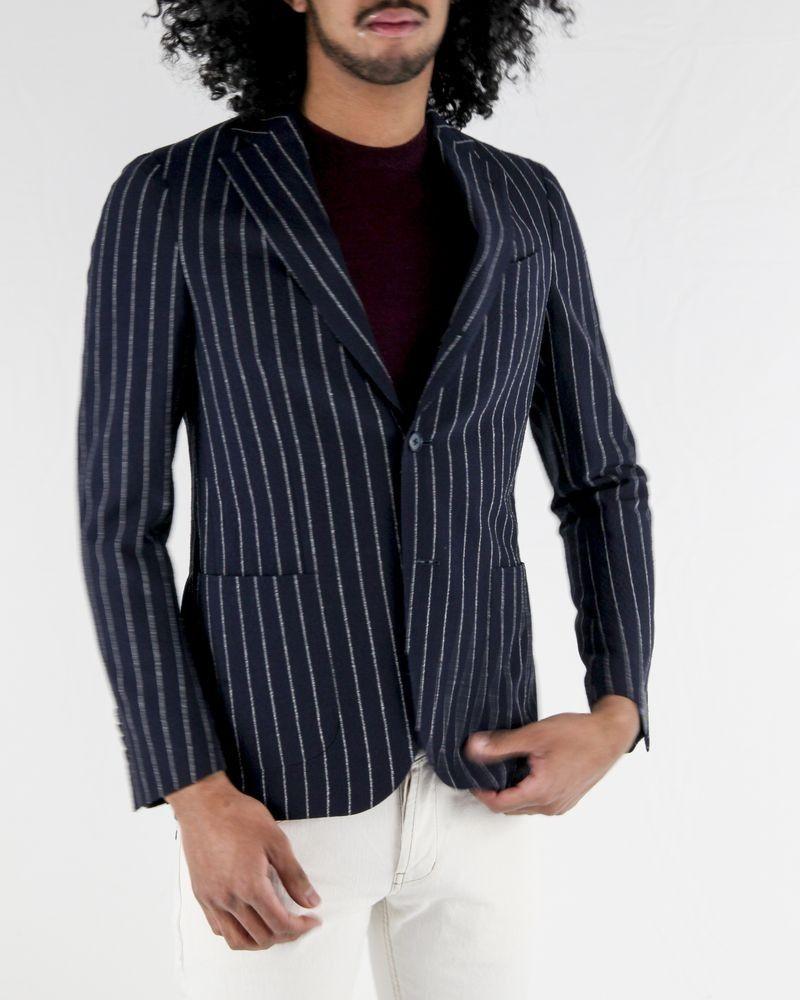 Veste en laine bleu à motif rayé Lardini