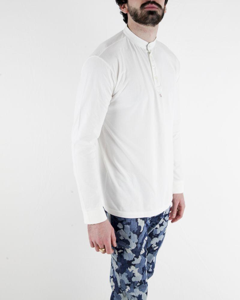 Polo en coton blanc a manches longues Marchand Drapier