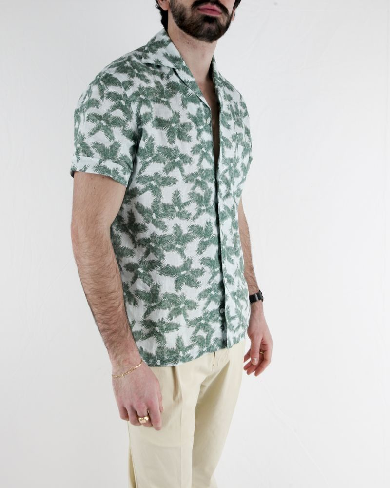 Chemise en lin bleu à motifs tropicaux Lardini Homme