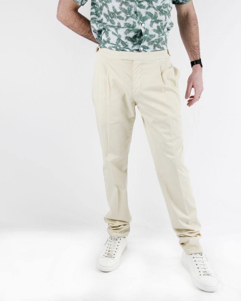 Pantalon beige tailleur à brides fantaisie Lardini Homme