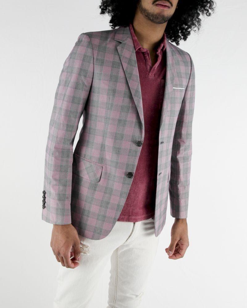 Veste en coton gris à carreaux rose Marchand Drapier