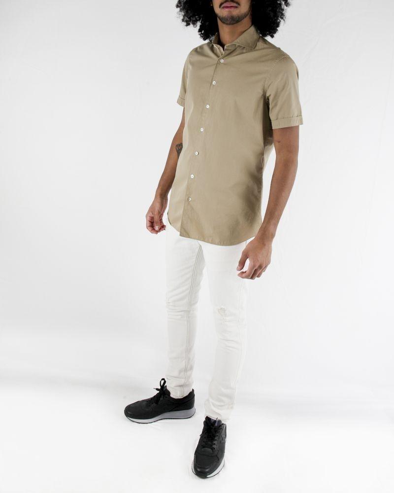 Chemise à manches courtes en coton beige Lardini