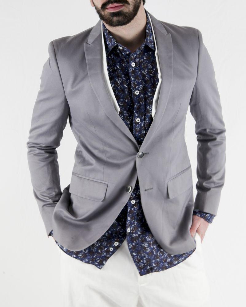 Veste en coton gris à double col Marchand Drapier
