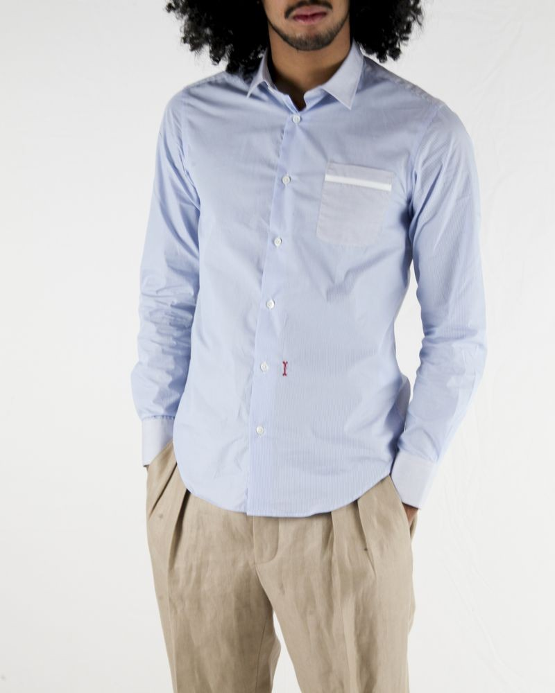 Chemise bleue à rayures fantaisies Marchand Drapier