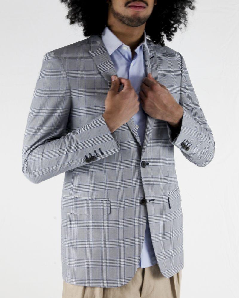 Veste en coton et soie gris à carreaux Marchand Drapier