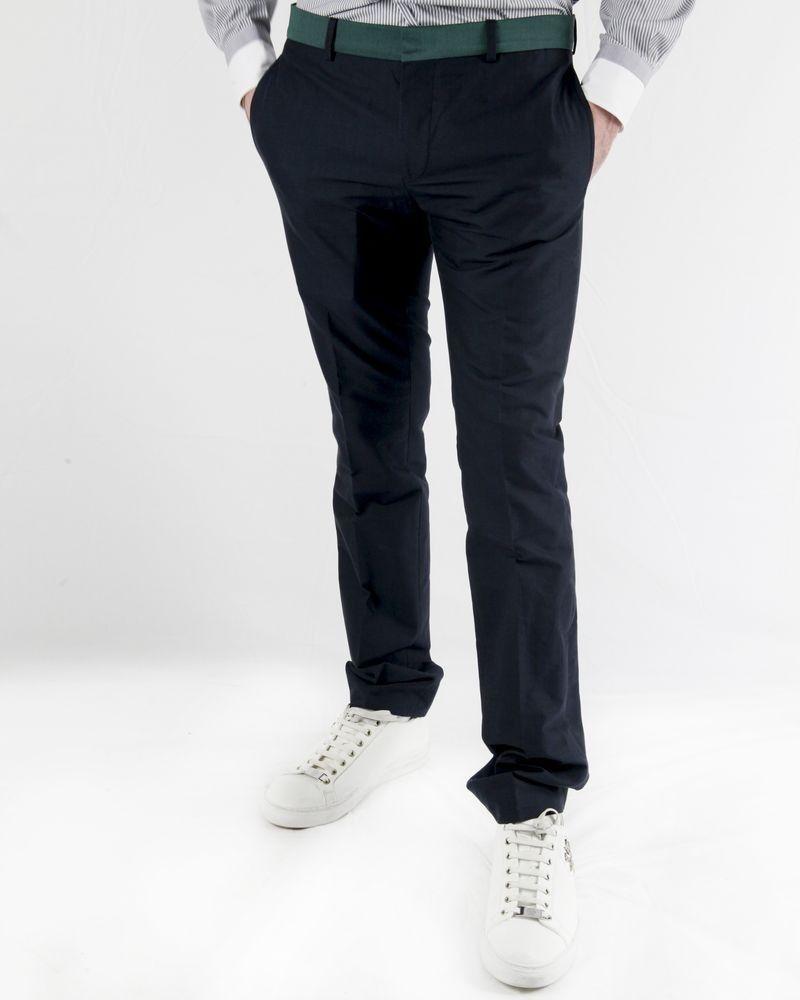 Pantalon tailleur bleu à ceinture verte Marchand Drapier