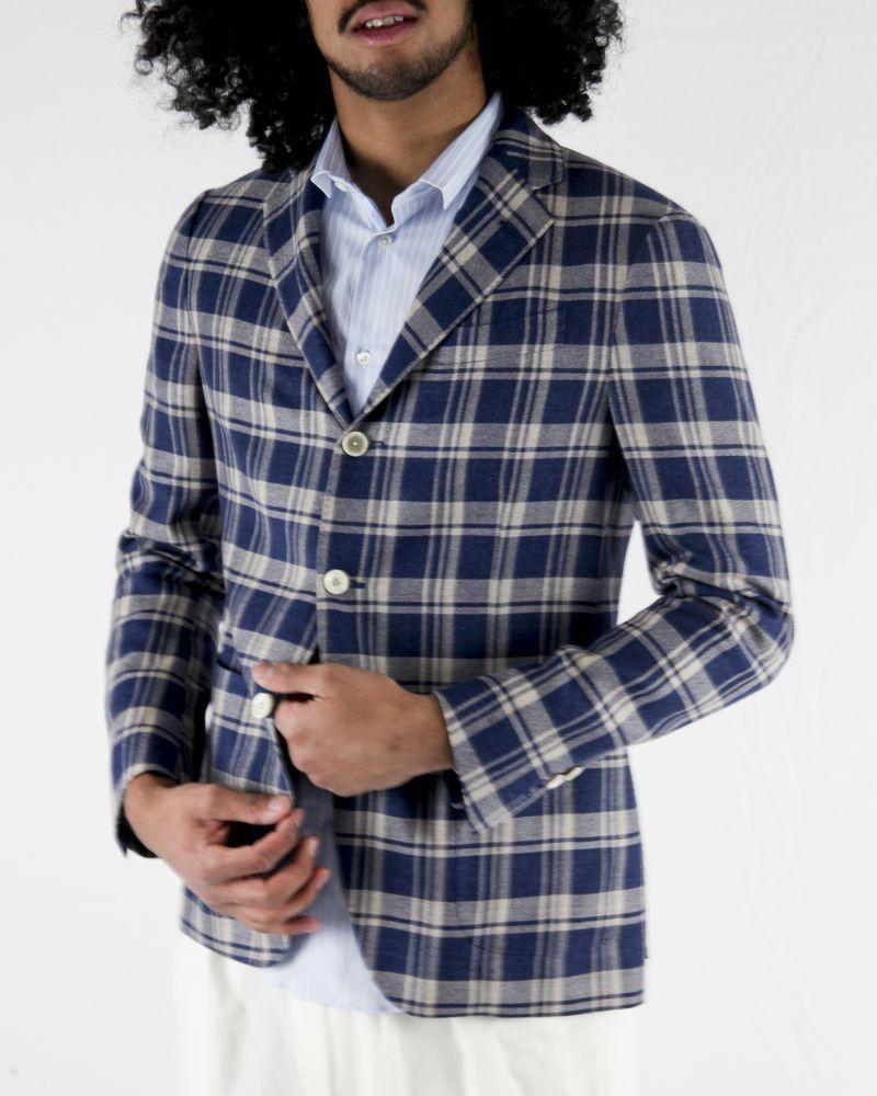 Veste en laine bleu à carreaux Lardini
