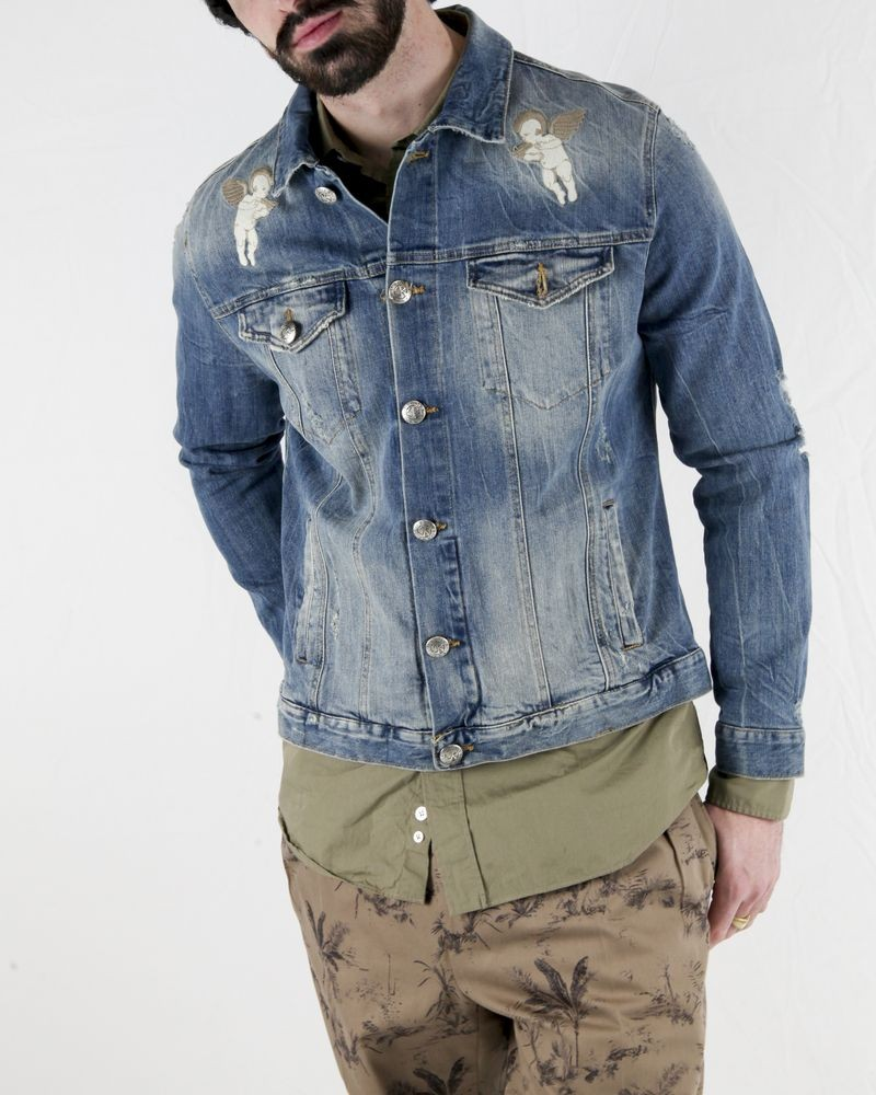 Veste en jean bleu délavé à broderies fantaisies John Richmond