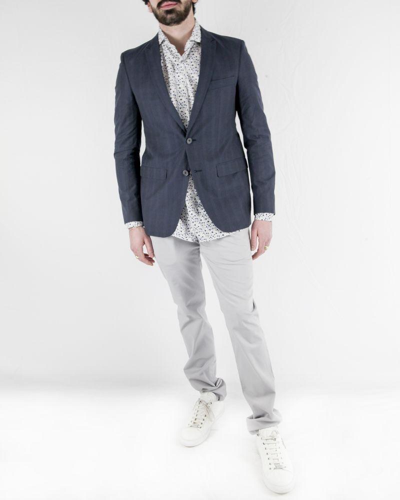 Veste en coton bleu à rayures latérales Marchand Drapier