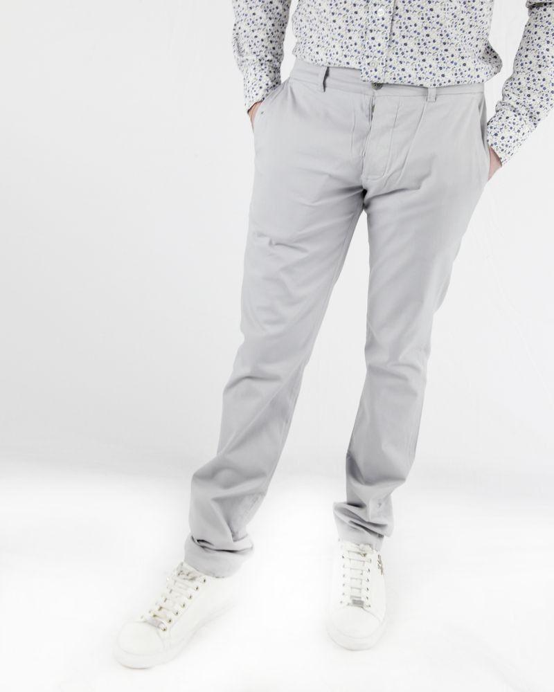 Pantalon chino gris côtelé à poches fantaisies Marchand Drapier