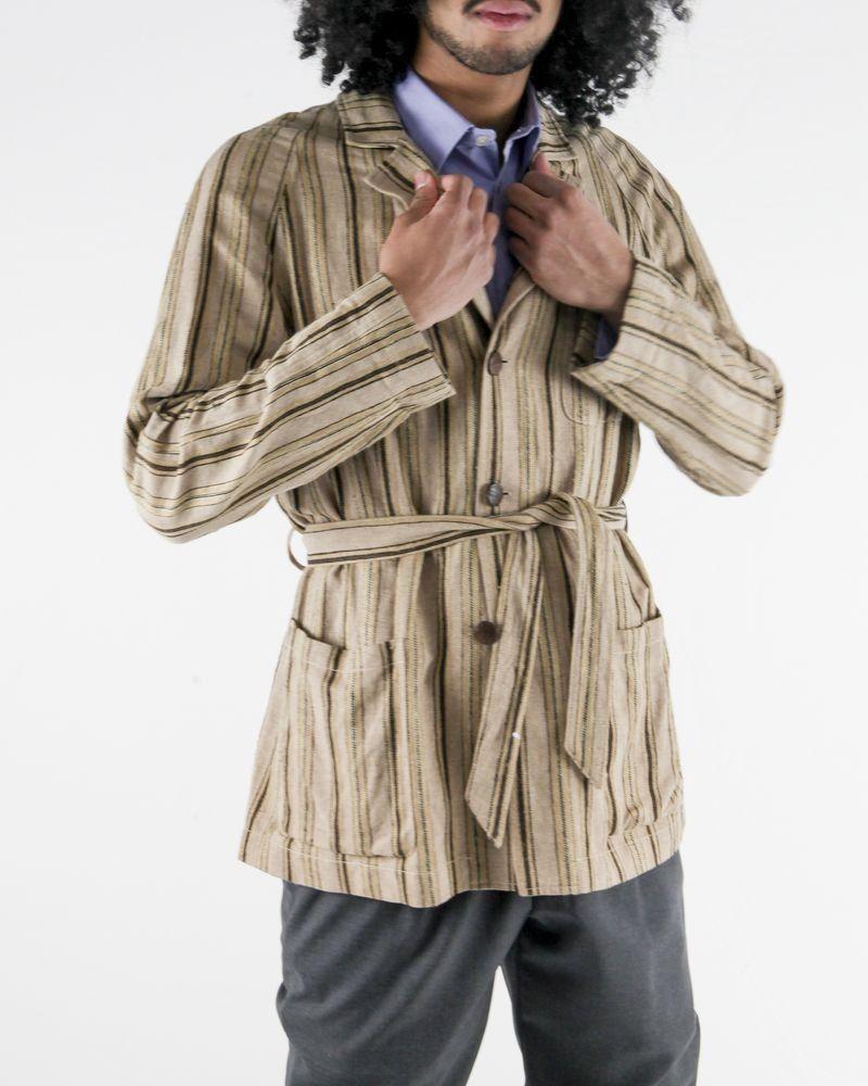 Veste façon trench en soie et lin beige rayé Lardini
