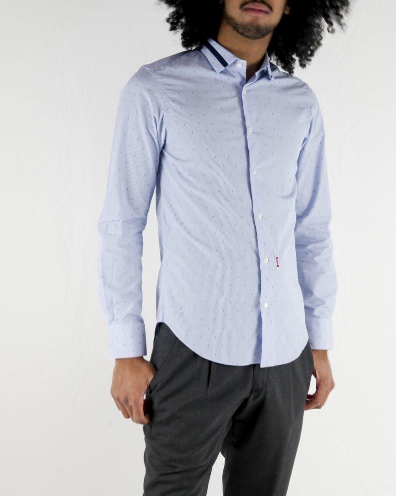 Chemise en coton bleu à motifs Marchand Drapier