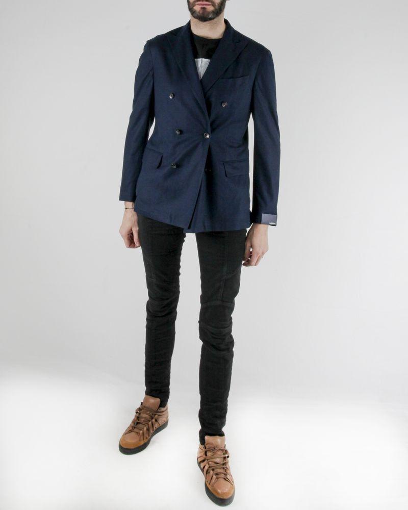 Veste fine en coton bleu à boutons croisés Lardini