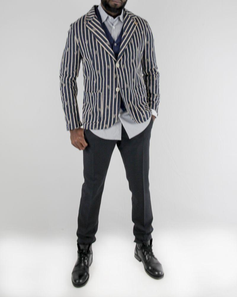 Veste en laine beige à rayure chiné bleu Wool & Co