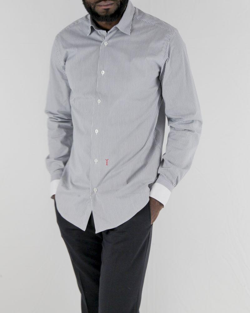 Chemise grises à rayures blanches Marchand Drapier