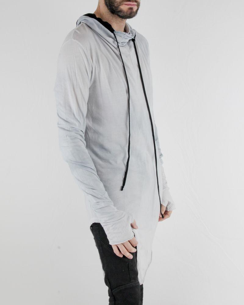 T-Shirt col smocké long délavé gris Lost & Found