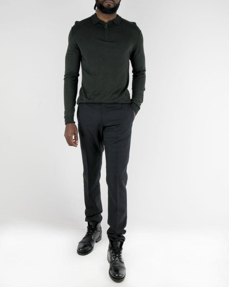 Polo à manches longues en laine gris Hosio